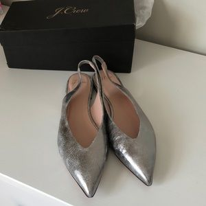 J. Crew Shoes - J. Crew silver Pointy Flats
